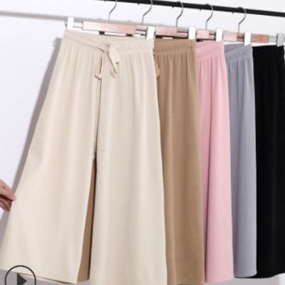 20夏季新款韩版七分冰丝阔腿裤女高腰宽松薄款垂感直筒休闲裤子女