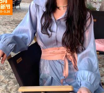 2021 新款蓝色人鱼姬衬衫连衣裙女春夏系带收腰设计感时尚a字裙子