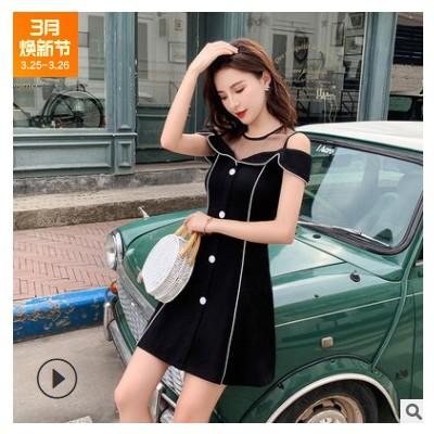 2021夏季新款韩版收腰显瘦圆领短袖小黑裙洋气简约连衣裙女潮