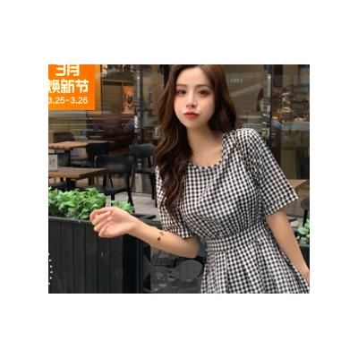 2021夏季新款赫本风后背镂空露腰系带格连衣裙女士修身显瘦格子裙