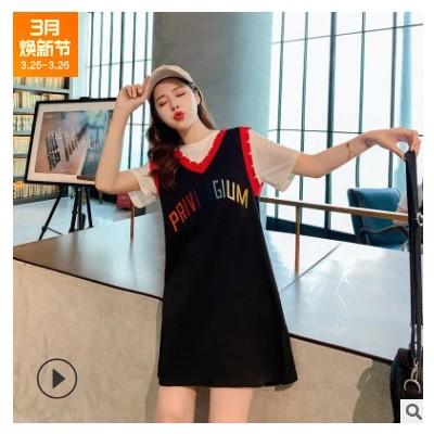 实拍2021 新款韩版彩色字母印花T恤裙女学生假两件休闲气质连衣裙