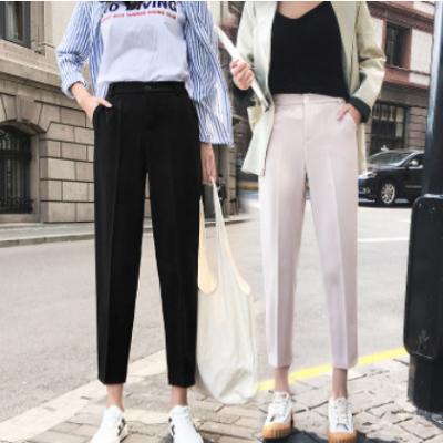 夏季西装裤女九分直筒2020新款休闲裤女宽松黑色高腰职业烟管裤薄