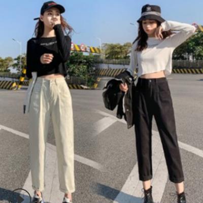 韩版chic高腰显瘦牛仔裤女145小个子松紧腰宽松直筒裤