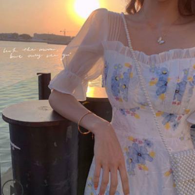 网红超仙碎花连衣裙女2021春夏季新款气质荷叶袖中长款雪纺连衣裙