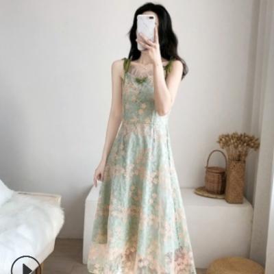 2021夏季新款法式初恋森系吊带连衣裙收腰显瘦一字肩气质桔梗裙子