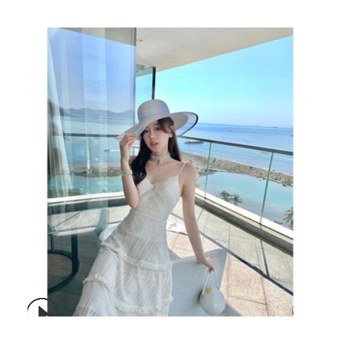 带它去旅行 时刻释放xian气的【白色情人】连衣裙女夏季吊带长裙