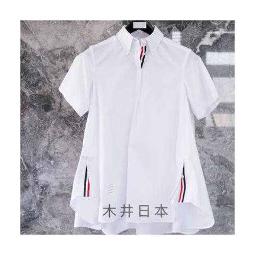 木井日本 TB女宽松春季织带五分袖收腰短袖衬衫连衣裙