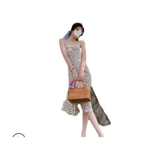 法式碎花珍珠吊带连衣裙中长款2021年新款春夏开叉小心机裙子过膝