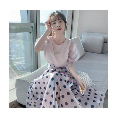 温柔风气质泡泡袖连衣裙女装2021夏季新款时尚洋气套装裙子两件套