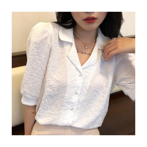 网红2021抽褶泡泡袖西装领夏季新款韩版简约时尚气质短袖衬衣女