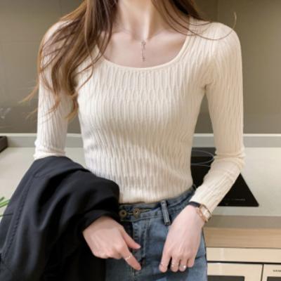 2020秋冬新款韩版复古女装修身显瘦方领上衣打底衫长袖针织衫女潮
