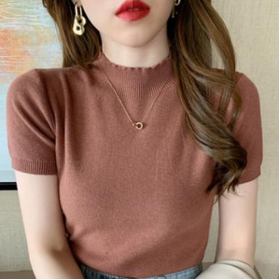 2021春夏新款短袖t恤女 半高领针织打底衫内搭修身显瘦针织衫上衣