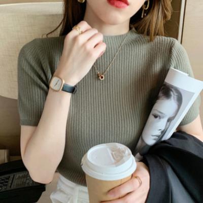 2021春夏新款半高领针织衫打底衫内搭修身显瘦上衣短袖T恤女