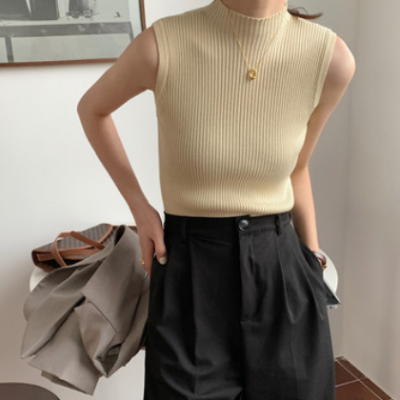 吊带女2021夏外穿复古港味无袖上衣韩版简约内搭打底修身针织背心