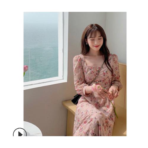法式刺绣连衣裙女2021春季新款复古方领长袖雪纺碎花裙子网红系列