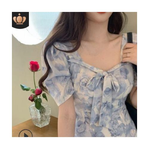 复古油画连衣裙女2021夏装新款法式收腰显瘦气质轻熟风碎花裙