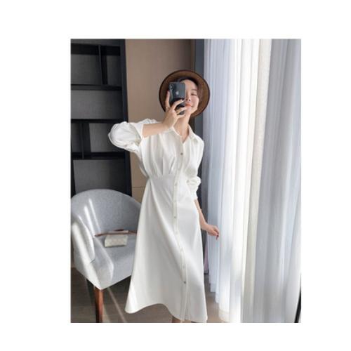 网红2021年新款水母白衬衫连衣裙 收腰显瘦a字长裙女春秋
