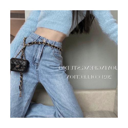 高腰浅蓝色牛仔裤女宽松设计感显瘦直筒裤2021春夏新款韩版长裤潮
