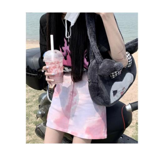 时髦扎染半裙女高腰2021夏季新款牛仔短裙xiaoa字半身裙可代理