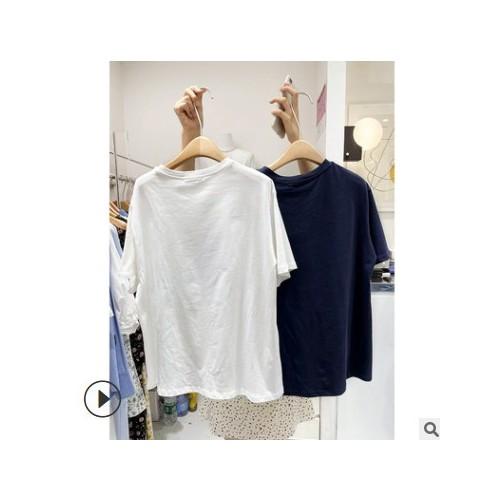 FINOA 可爱小熊印花短袖T恤女2021夏韩版宽松休闲上衣 531