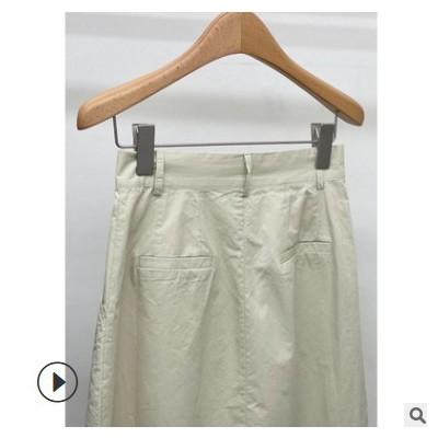 FINOA费挪韩版2021新款高腰休闲包臀裙纯色中长款半身裙8290