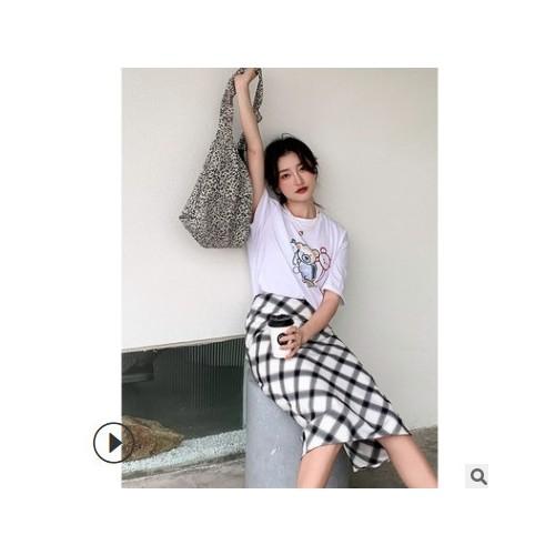 FINOA 费挪 格子半身裙女2021夏季韩版高腰包臀直筒中长裙515