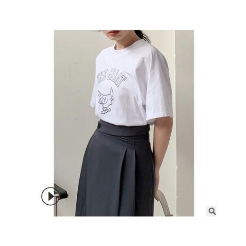 FINOA费挪2021新款女装套头通勤短袖印花圆领宽松棉t恤8150
