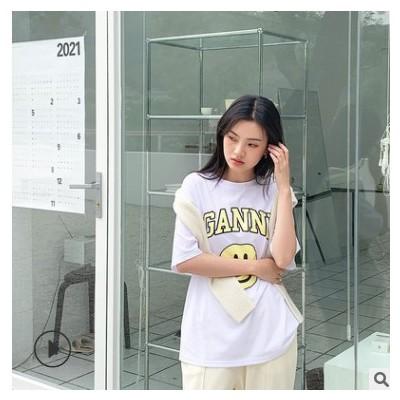 FINOA韩版T恤女装通勤圆领套头宽松型字母短袖棉印花笑脸上衣8275