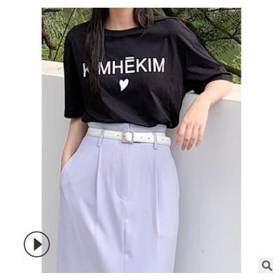 FINOA 费挪 2021春夏新款韩版纯棉圆领短袖 t恤 女士上衣 8297