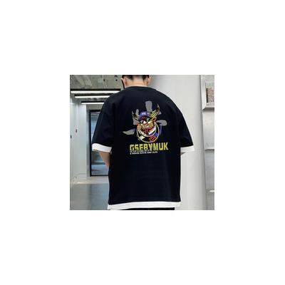 2021男装街头时尚短袖男纯棉休闲圆领打底衫男装印花t恤男体恤