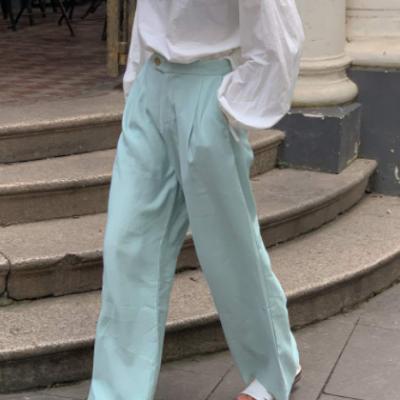 实拍 韩版夏季新款简约高腰薄荷绿一粒扣显瘦西装阔腿长裤