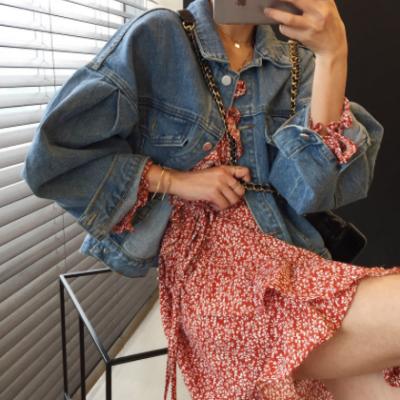韩国chic春季新款复古洋气泡泡袖短款牛仔外套