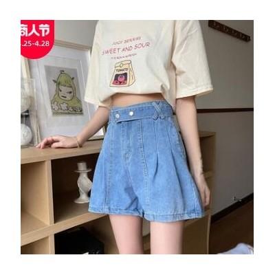 复古蓝色阔腿裤A字裤子夏季2021新款显瘦高腰直筒牛仔短裤女夏季