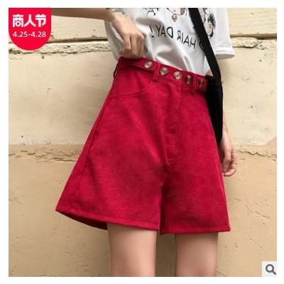 韩版洋气复古绿色灯芯绒短裤学生潮流宽松百搭高腰显瘦直筒裤子女
