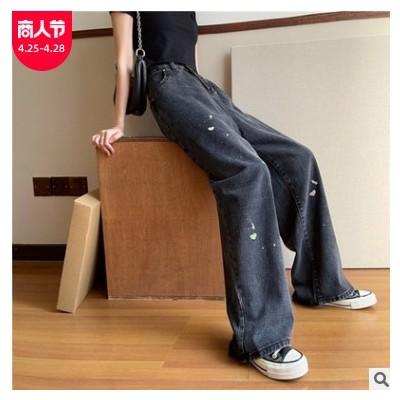 爱心牛仔裤女春夏新款韩版高腰直筒宽松显瘦阔腿黑色拖地长裤子潮