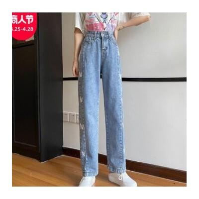 牛仔裤女2021年夏季直筒宽松新款韩版高腰显瘦百搭休闲阔腿裤子潮