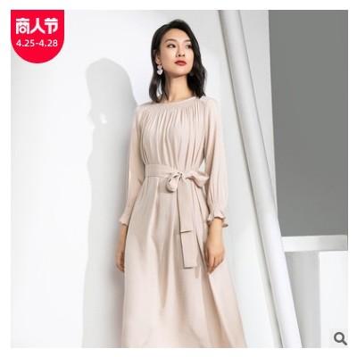春夏女装气质纯色长袖雪纺连衣裙大码胖MM高腰显瘦温柔风中长裙