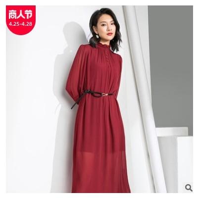 纯色圆领套头长袖连衣裙春夏女装雪纺中长裙女大码胖MM气质裙子