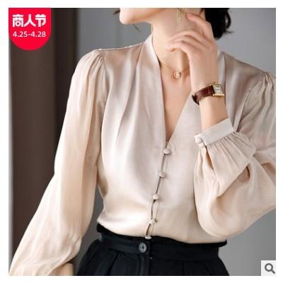 春夏女装纯色V领韩版衬衫女缎面灯笼袖上衣套头宽松气质打底衫