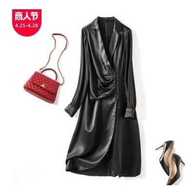 春季新款女装米色V领连衣裙设计感气质收腰中长裙缎面不规则长裙