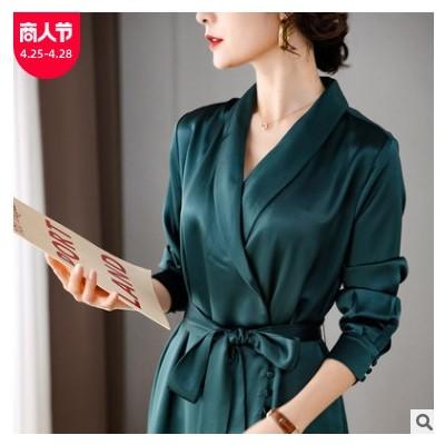 春季新款女装开衫v领气质连衣裙韩版收腰修身中长款纯色醋酸长裙