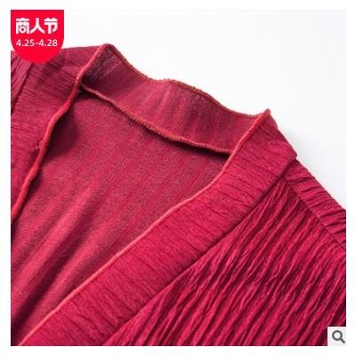 欧美爆款女装秋冬新款丝绒开衫针织外套V领宽松长袖坑条外披