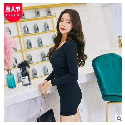 秋装女2018新款韩版时尚裙子拉链衣服女长袖连衣裙女装一件代发
