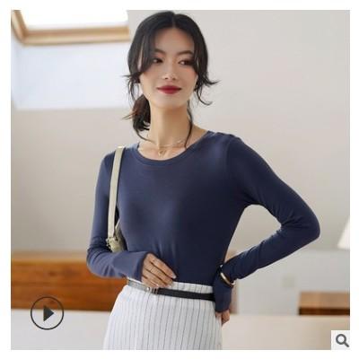 莫代尔打底衫长袖女2021春新款大码薄款圆领修身内搭纯色休闲T恤